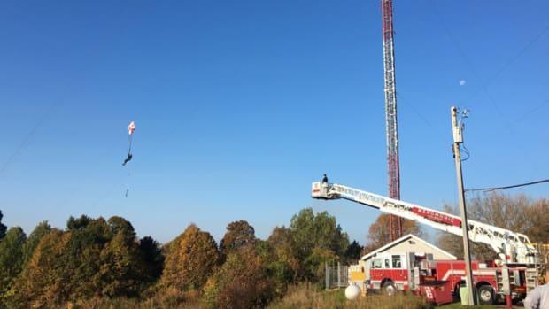 Rescue of BASE jumper in Menomonie, Wisconsin.