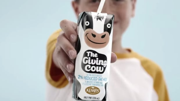 "Kemps' shelf-stable ""Giving Cow Project"" milk"