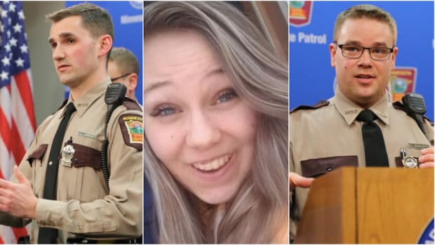 Trooper Corey Johnson, Alysson Andert, and Trooper Brian Schwartz.