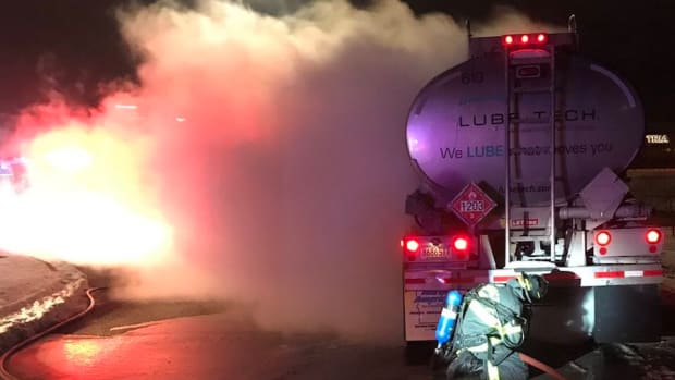 Gas tanker fire in Bloomington