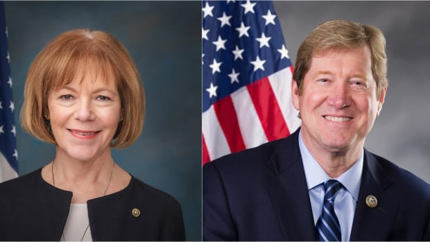 Jason Lewis and Tina Smith