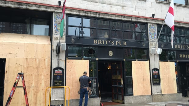 Riot damage at Brit's Pub