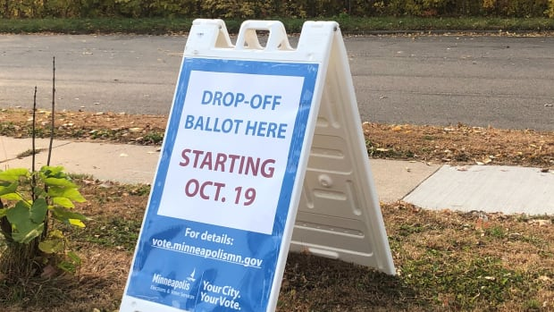 Ballot drop off voting sign