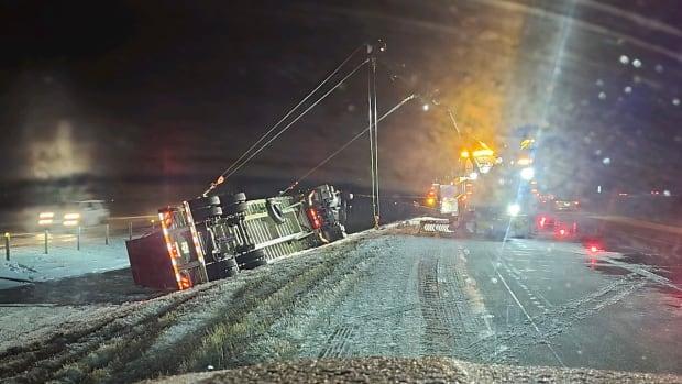 overturned semi truck