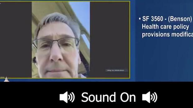 Sen. Scott Jensen golfing during hearing