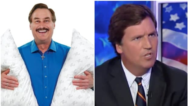 Mike Lindell of MyPillow and Tucker Carlson.