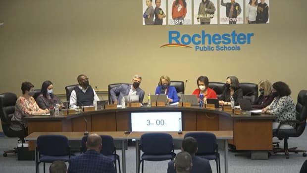 rochester school board meeting mask