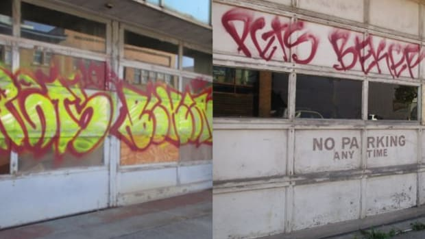 Union Gospel Mission graffiti side by side - Duluth PD
