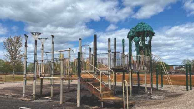 Playground destroyed by fire.