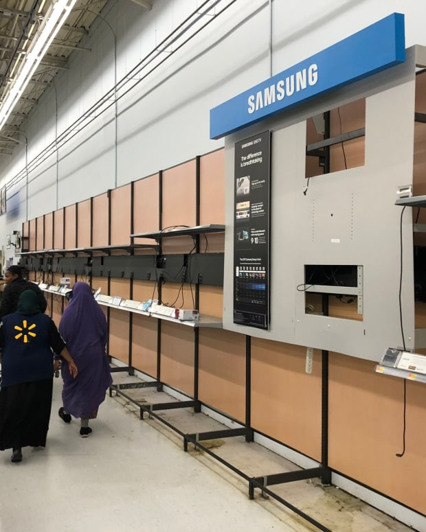 Empty shelves at Midway Walmart.