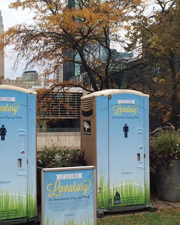 The Mpls Downtown Improvement District tested a Little Free Lavatory pilot program in 2015.