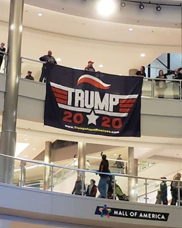 """Trump Flag Drop"" at Mall of America."