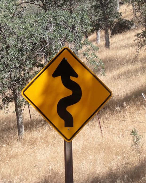 curve ahead, road sign
