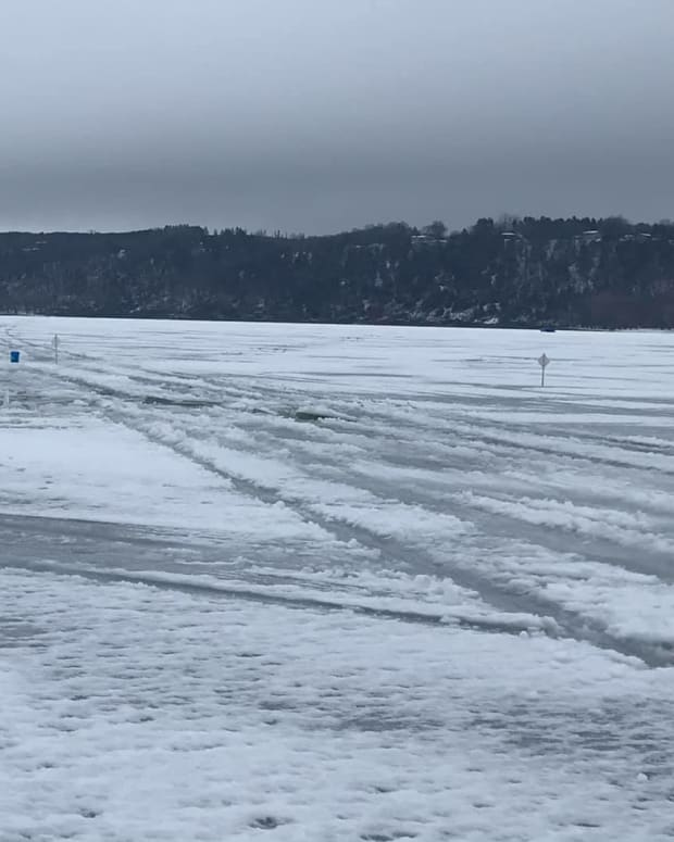 Ice on frozen St. Croix River