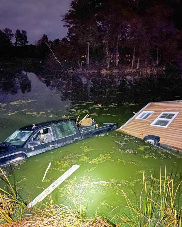 Ice house, truck sinking