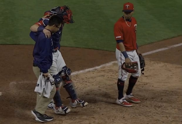 Byron Buxton's arm leads Twins over Angels; Mitch Garver suffers ankle injury