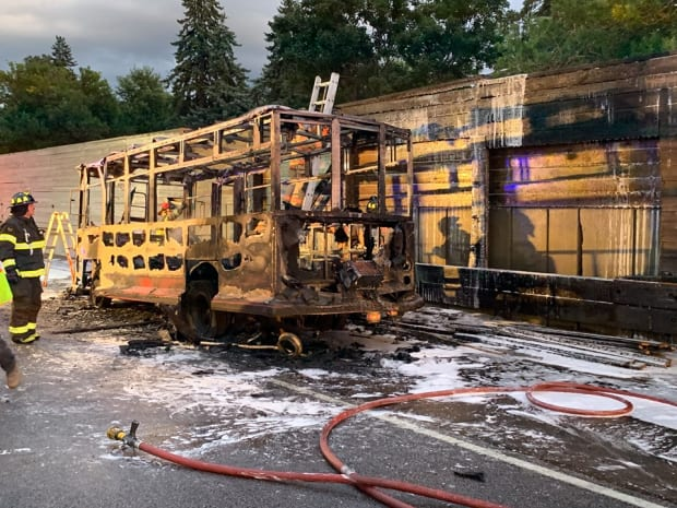 Trolley engulfed in flames on Highway 36 in Twin Cities Saturday night
