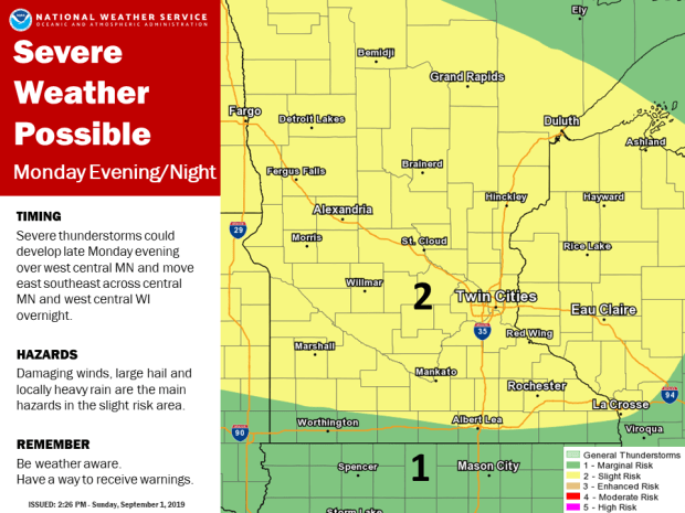 Severe weather remains possible for large area of Minnesota