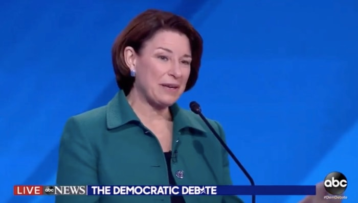 What did Amy Klobuchar say during the Democratic debate?