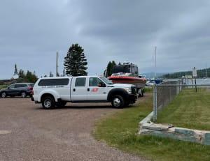 The Coast Guard single boat at Grand Marais train station.