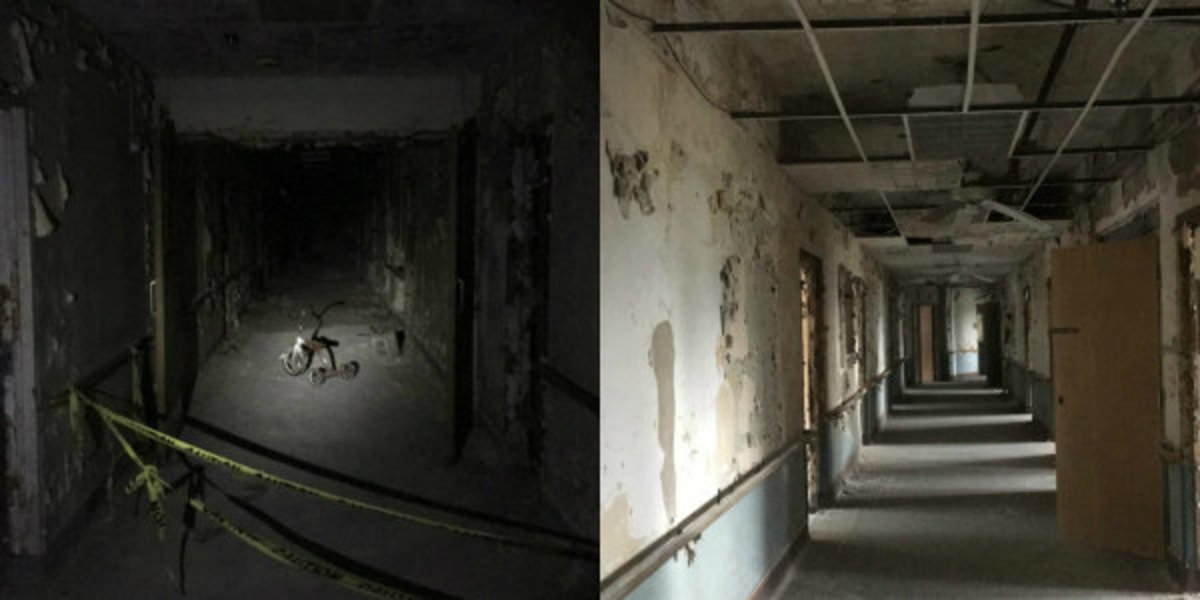 Inside Nopeming Sanatorium. A tricycle in a first floor hallway (left) and a third floor hallway that has had some paranormal activity (right).
