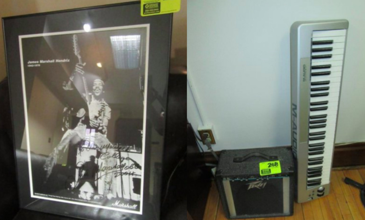 A Jimi Hendrix picture and musical equipment are among the biddable items.