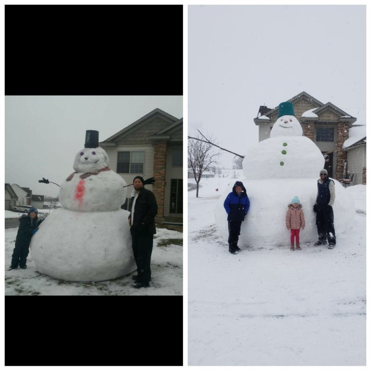 Eric Fobbe doubled the size of another big snowman he built.