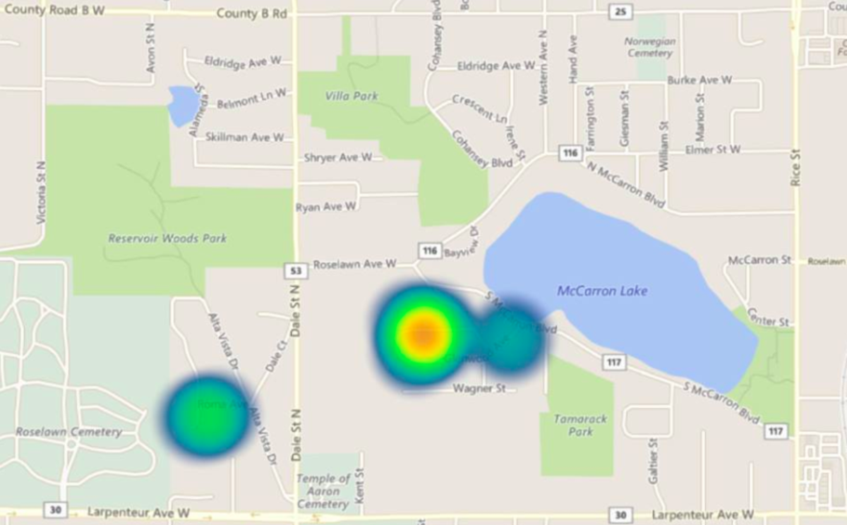 This heat map shows where the burglars targeted.