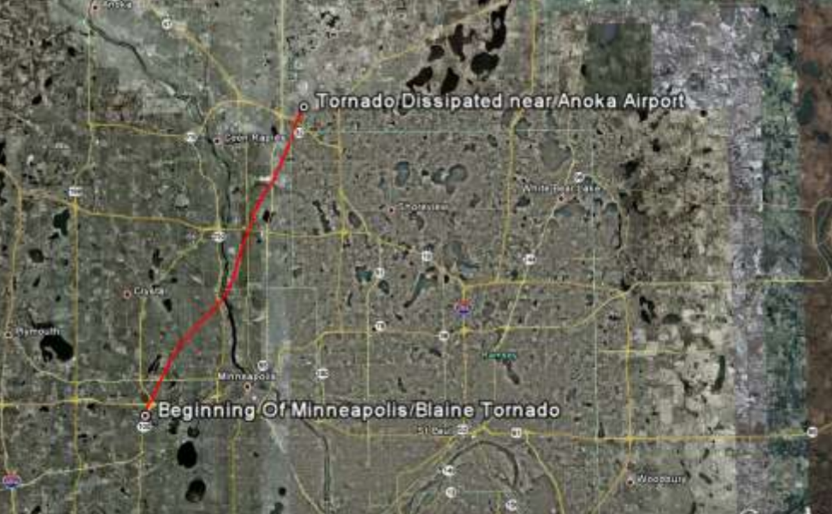 May 22 2011 Minneapolis tornado track