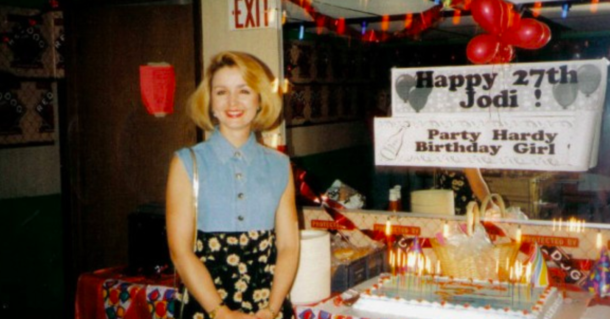 Jodi Huisentruit pictured on her 27th birthday, 2 weeks before she was abducted.