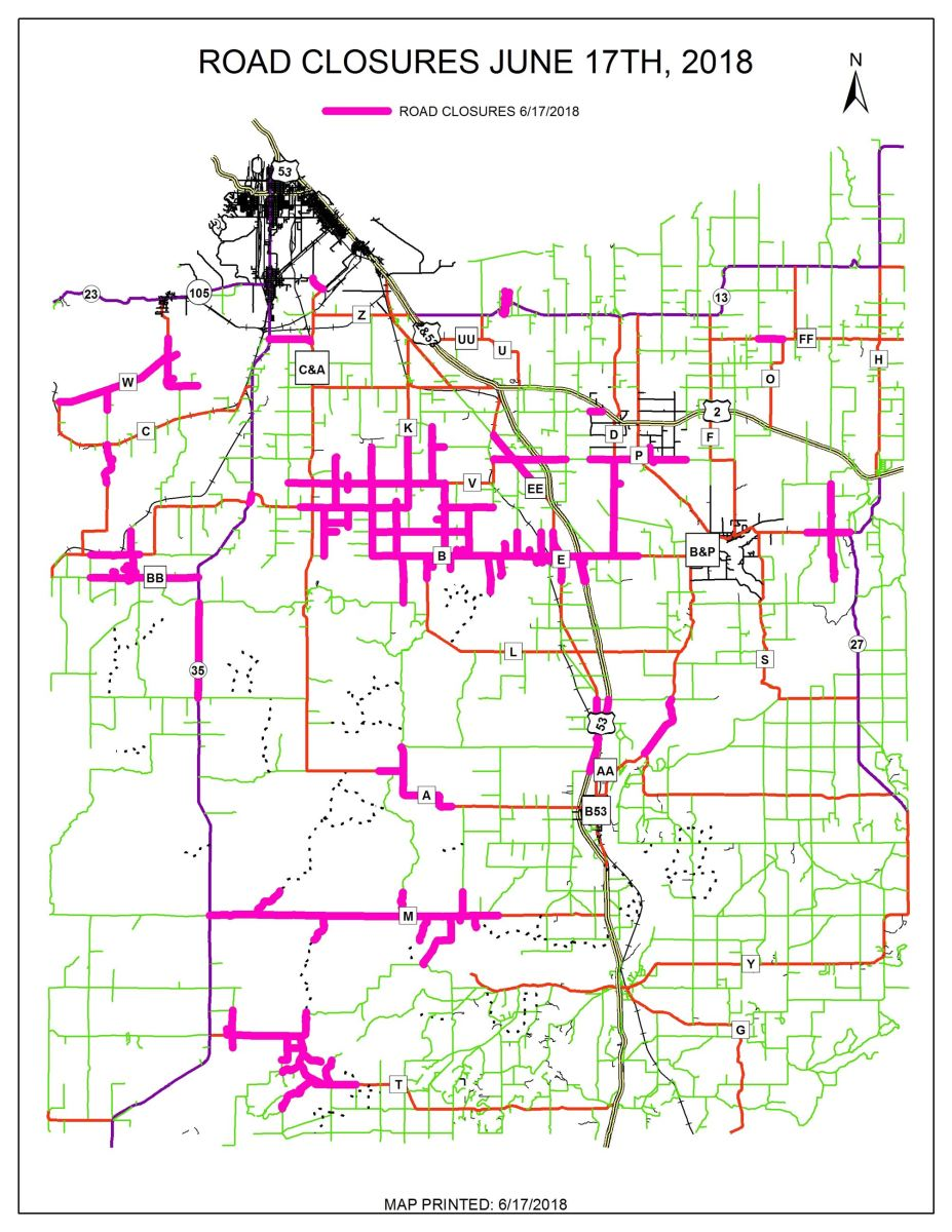Douglas County road closures as of 9 p.m. Sunday.