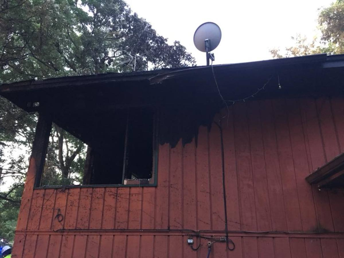 A look at a portion of the home after the overnight fire.