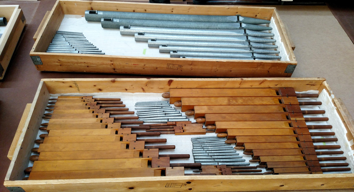 The repaired pieces of the organ. (Credit: Minnesota Historical Society)