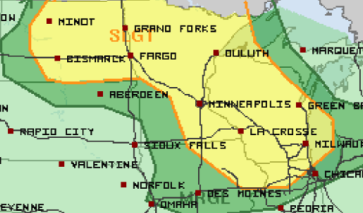 Severe weather risk areas for Sunday. Areas shaded in yellow have the best chances to see severe storms.