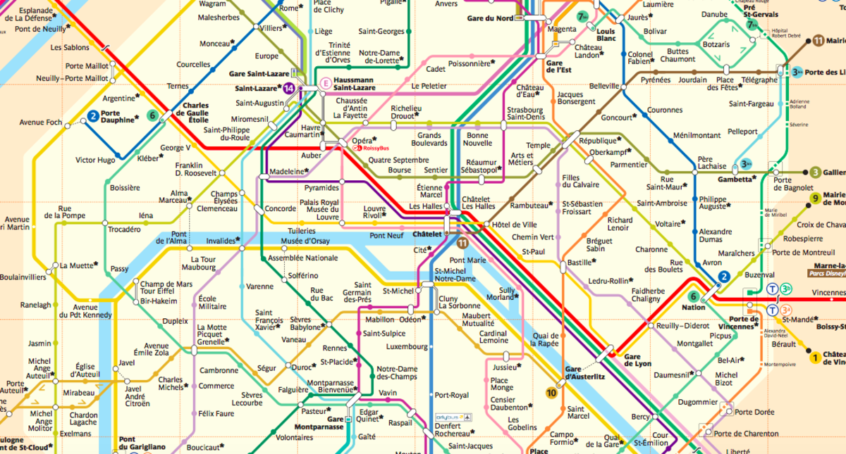 Paris has an extensive metro train system.