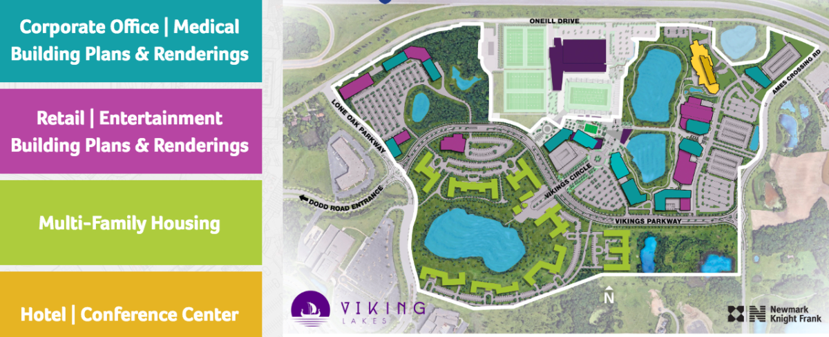 An outline plan for the Vikings Lakes development.