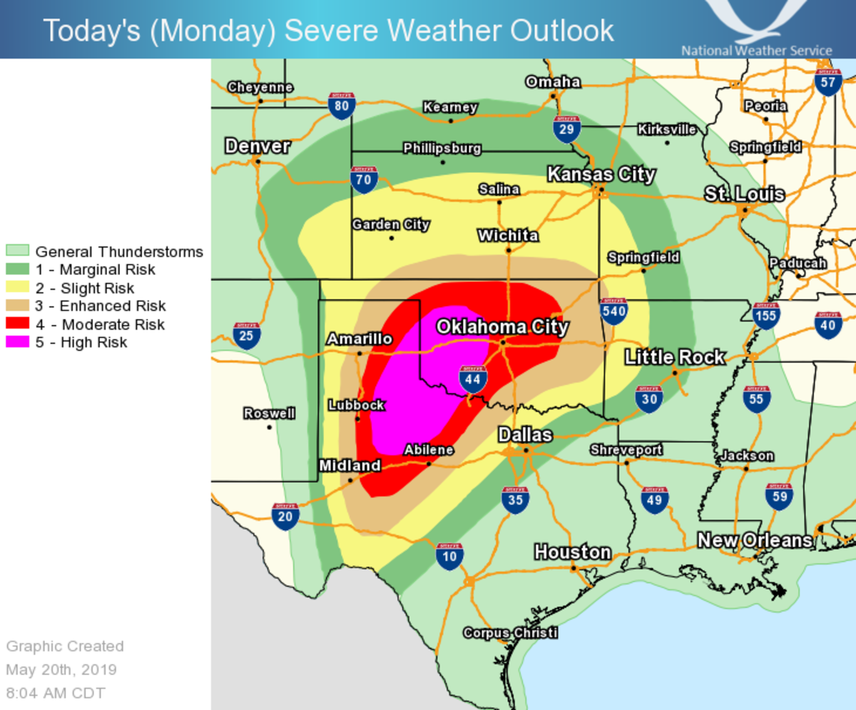 Severe risk for Monday, May 20.