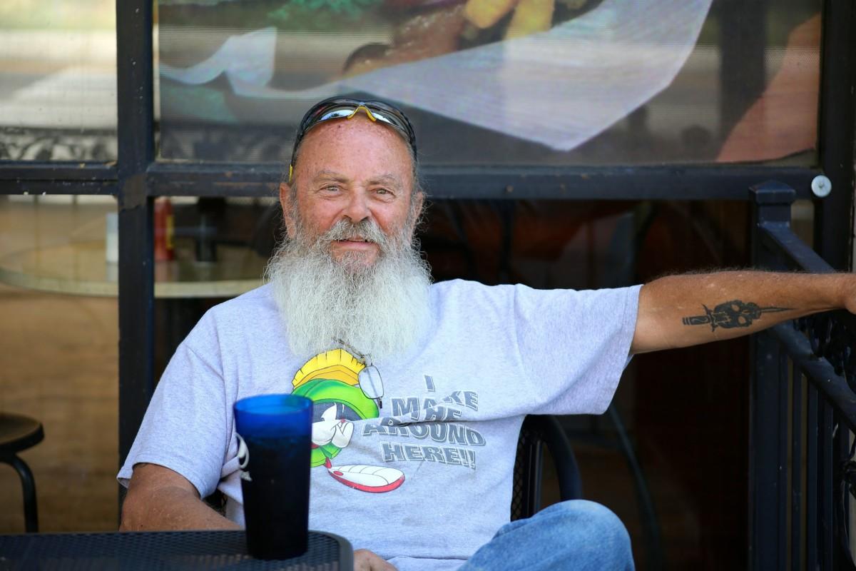 beard guy relaxing outside