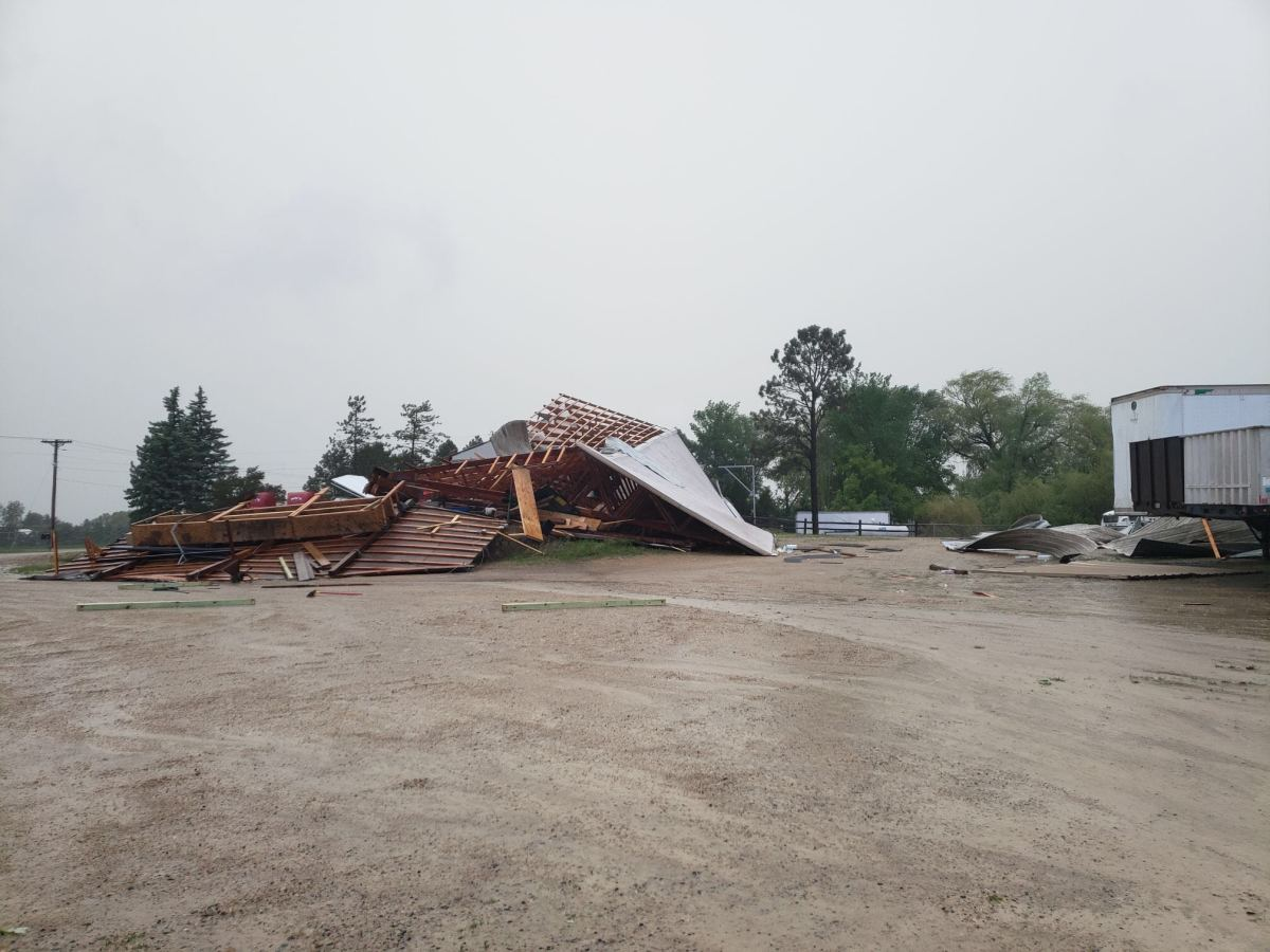 A building at Doc's Trucking in Farmington was destroyed in the storm.