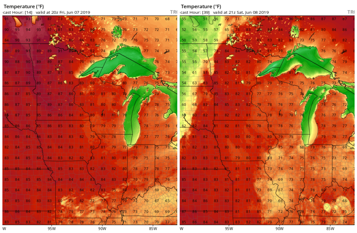 One computer model's temperature forecast for Friday (left) and Saturday (right).