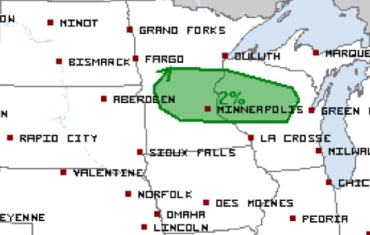 The area shaded in green has the best chance – still a low chance – of storms producing a tornado.