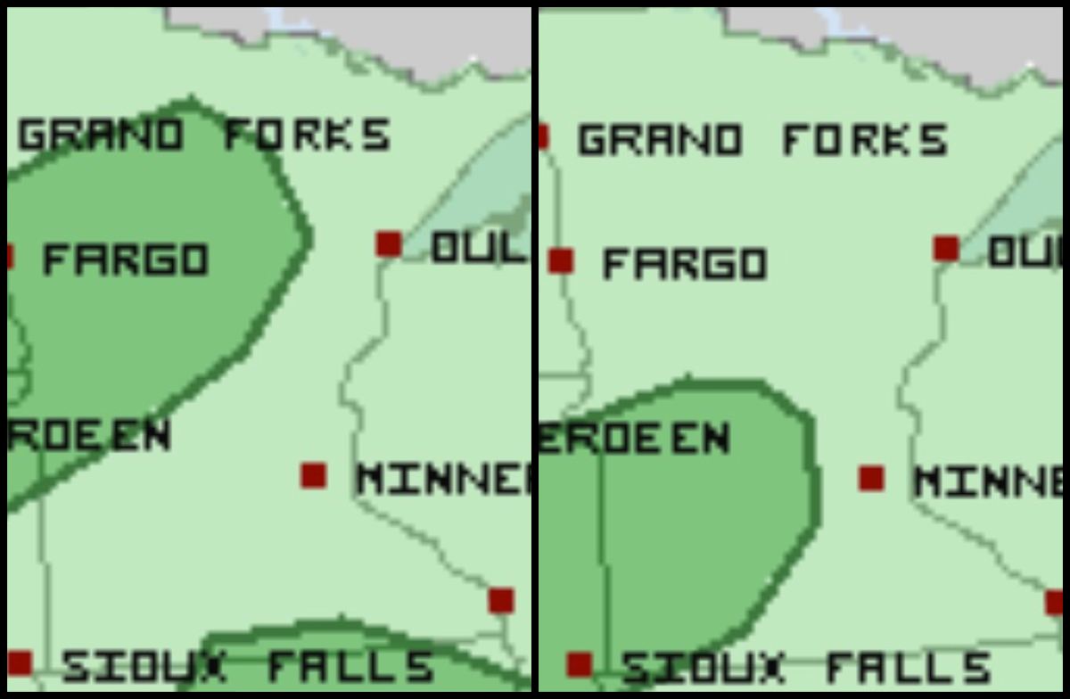 The darker green areas are under a marginal risk for severe storms on Wednesday (left) and Thursday (right).