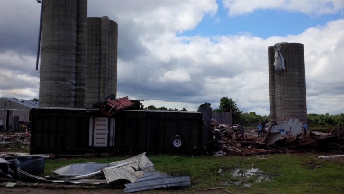 Damage from a tornado near Luck, Wisconsin.