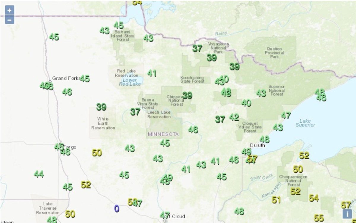 Low temps (the zero is invalid) across the northern half of Minnesota on July 30.