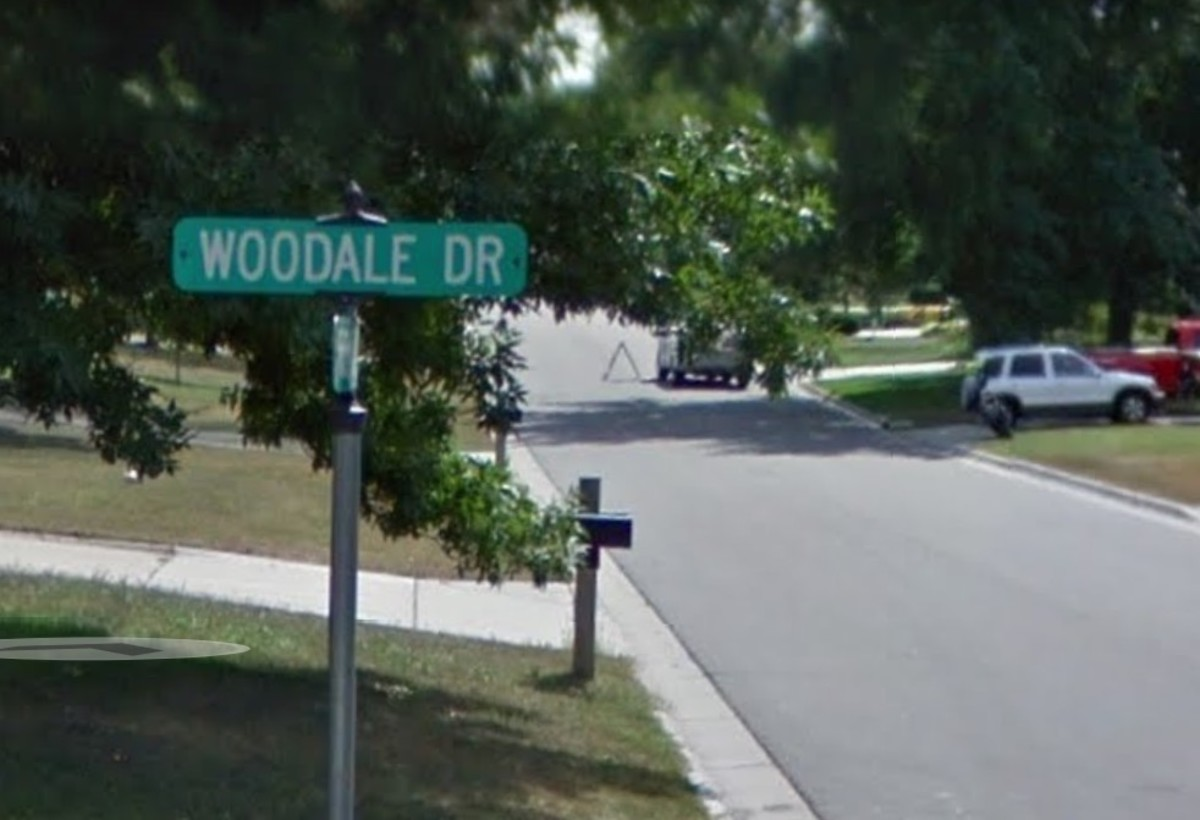 The intersection of Woodale Drive and Irondale Road in Mounds View.