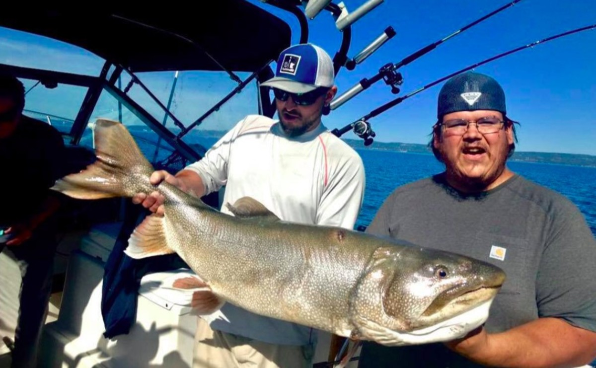 Jordan Korzenowski and Steven Gotchie with their catch.