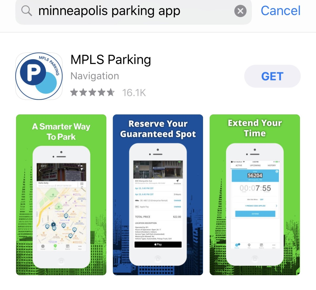 The view you get when downloading the MPLS Parking app on in iPhone.
