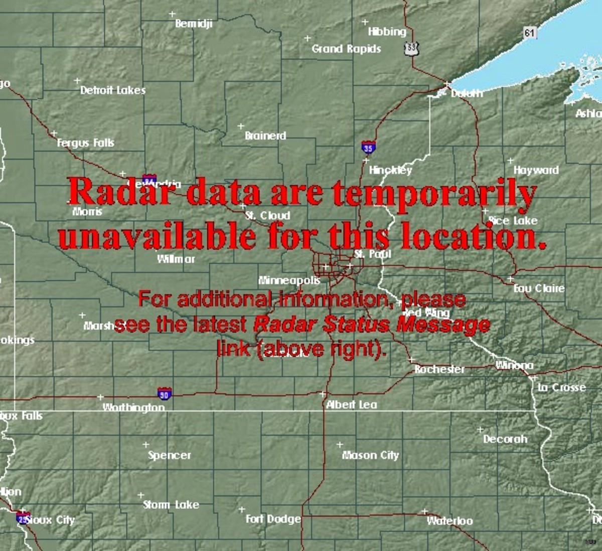 The view you'll get at Weather.gov with the Twin Cities (MPX) radar view..