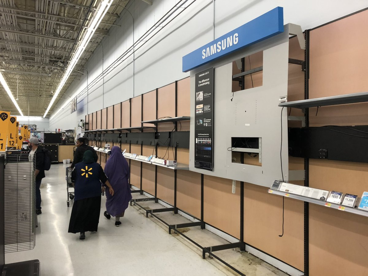 Empty shelves at Midway Walmart.