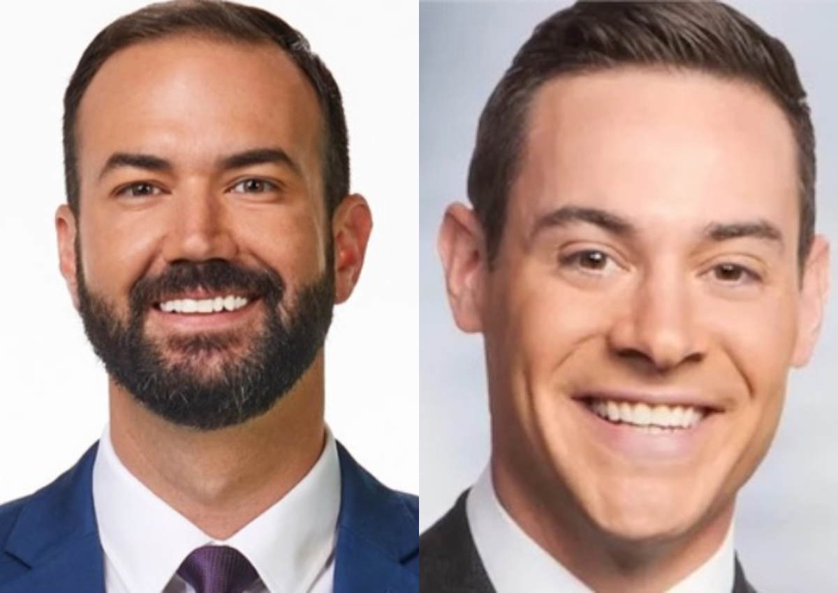 KARE 11's Jason Disharoon (left) and former WCCO meteorologist Matt Brickman (right).